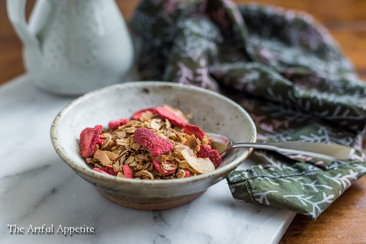 Strawberry Macadamia Coconut Granola {vegan + GF}