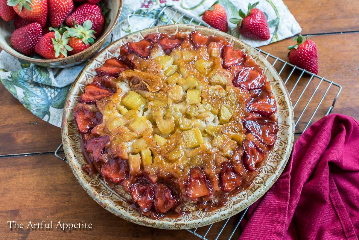 Vegan Strawberry Rhubarb Upside Down Cake The Artful Appetite